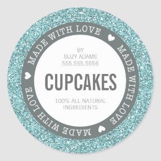 CUTE PRODUCT LABEL made with love glitter blue Round Sticker