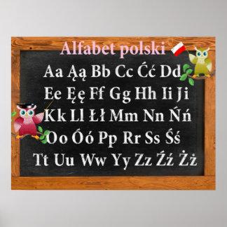 Cute Professor Owl Polish Alphabet Alfabet polski Poster