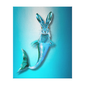 Cute Psychedelic Haremaid Mermaid Hare Mix Funny Canvas Print