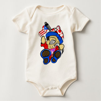 Cute Puerto Rico Character w/ Flag Baby Bodysuit