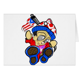 Cute Puerto Rico Character w/ Flag Card