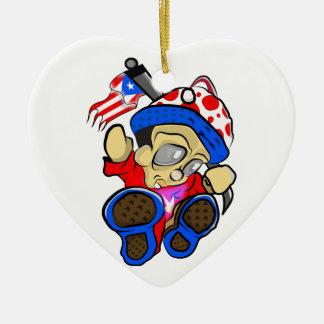 Cute Puerto Rico Character w/ Flag Ceramic Ornament