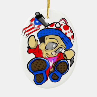 Cute Puerto Rico Character w/ Flag Ceramic Ornament