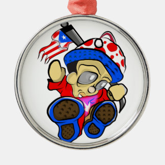 Cute Puerto Rico Character w/ Flag Metal Ornament