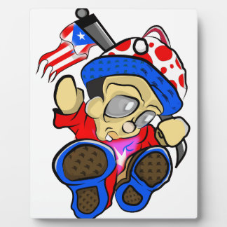 Cute Puerto Rico Character w/ Flag Plaque