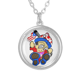 Cute Puerto Rico Character w/ Flag Silver Plated Necklace