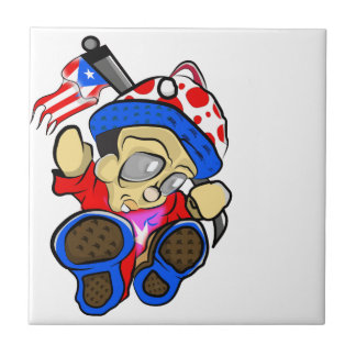 Cute Puerto Rico Character w/ Flag Tile