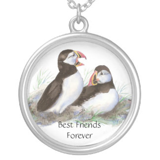 Cute Puffins, Best Friends Forever, BFF, Birds Silver Plated Necklace
