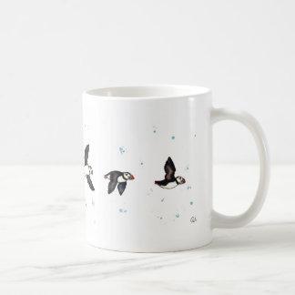 Cute puffins flying coffee mug