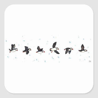 Cute puffins flying square sticker
