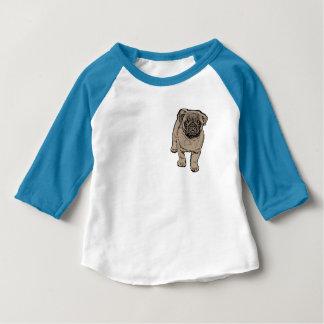Cute Pug Baby 3/4 Sleeve Raglan T-Shirt -Blue