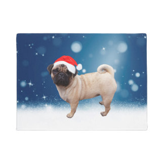 Cute Pug Dog Christmas Santa Hat Snow Stars Doormat