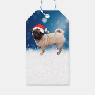Cute Pug Dog Christmas Santa Hat Snow Stars Gift Tags