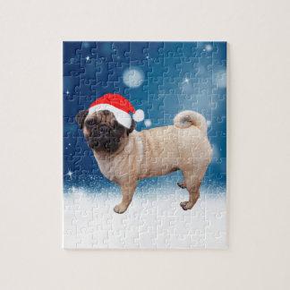 Cute Pug Dog Christmas Santa Hat Snow Stars Jigsaw Puzzle