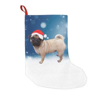 Cute Pug Dog Christmas Santa Hat Snow Stars Small Christmas Stocking