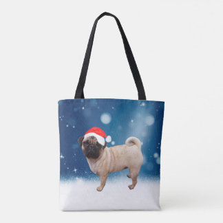 Cute Pug Dog Christmas Santa Hat Snow Stars Tote Bag
