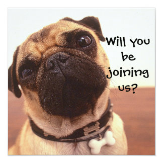 Cute Pug Dog Personalized Party Invites
