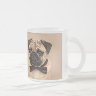 Cute pug dog wearing a black bow tie. Gentleman pu Frosted Glass Coffee Mug