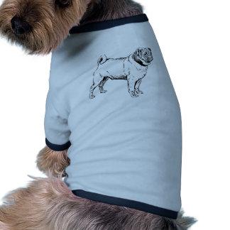 Cute Pug Elegant Dog Drawing Pet Clothing