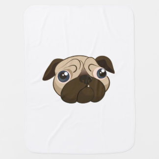 Cute Pug Face Swaddle Blanket