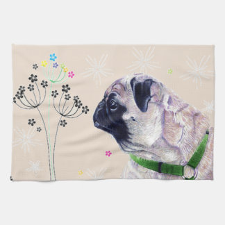 Cute Pug & Flowers Kitchen Towels