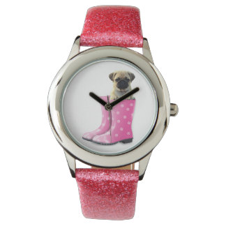 Cute Pug In Boots Kid's Pink Glitter Watch