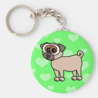 Cute Pug Keychain - Green