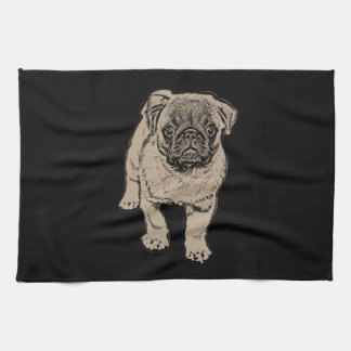 Cute Pug Kitchen Towel -Black