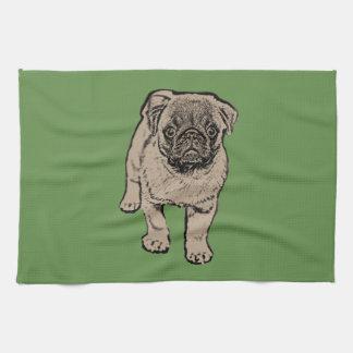 Cute Pug Kitchen Towel -Green