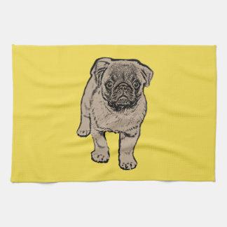 Cute Pug Kitchen Towel -Yellow