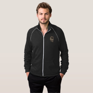 Cute Pug Men's Fleece Track Jacket -Black
