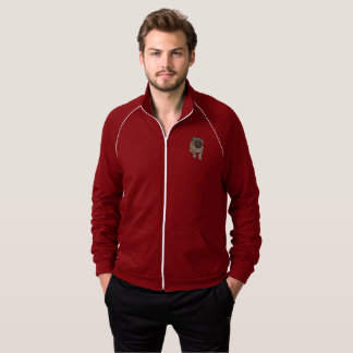 Cute Pug Men's Fleece Track Jacket -Dark Red