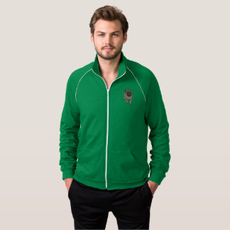 Cute Pug Men's Fleece Track Jacket -Green