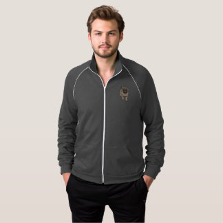 Cute Pug Men's Fleece Track Jacket -Grey