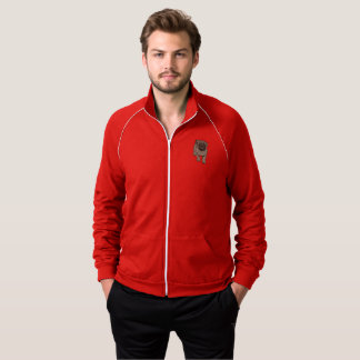 Cute Pug Men's Fleece Track Jacket -Red