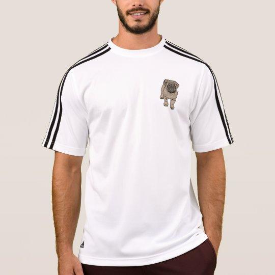 Cute Pug Men's Pocket Adidas® T-Shirt -White/Black