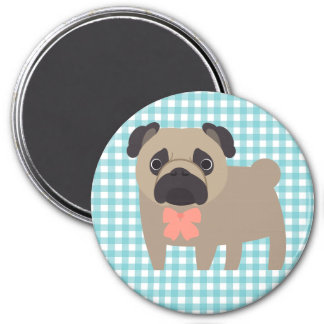 Cute Pug on Blue and White Gingham Design 3 Inch Round Magnet