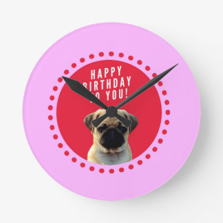 Cute Pug Puppy Dog Happy Birthday Red Dots Pink Round Clock