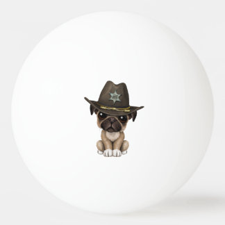 Cute Pug Puppy Dog Sheriff Ping Pong Ball