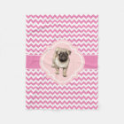 Cute Pug Puppy Pink and White Chevron Fleece Blanket