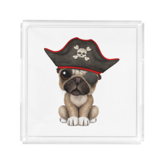 Cute Pug Puppy Pirate Acrylic Tray