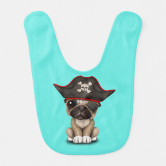 Cute Pug Puppy Pirate Bib