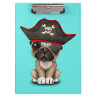 Cute Pug Puppy Pirate Clipboard