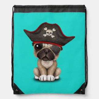 Cute Pug Puppy Pirate Drawstring Bag
