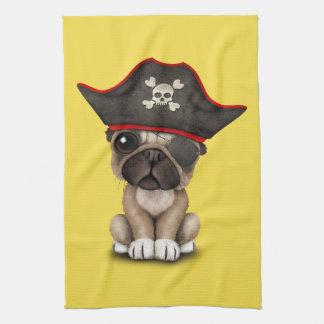 Cute Pug Puppy Pirate Hand Towels