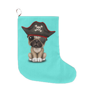 Cute Pug Puppy Pirate Large Christmas Stocking