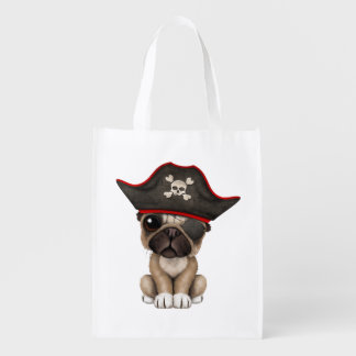 Cute Pug Puppy Pirate Reusable Grocery Bag