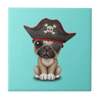 Cute Pug Puppy Pirate Tile