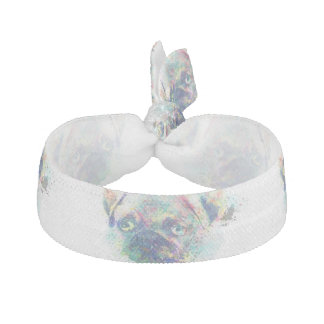 Cute pug puppy watercolor splatters abstract paint hair tie