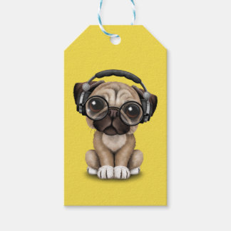 Cute Pug Puppy Wearing Headphones Gift Tags